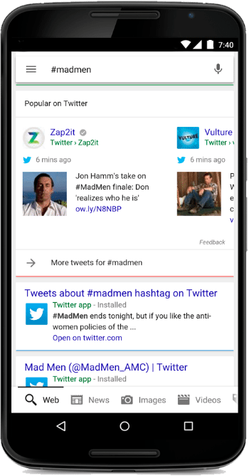 screen shot of Tweets in Google