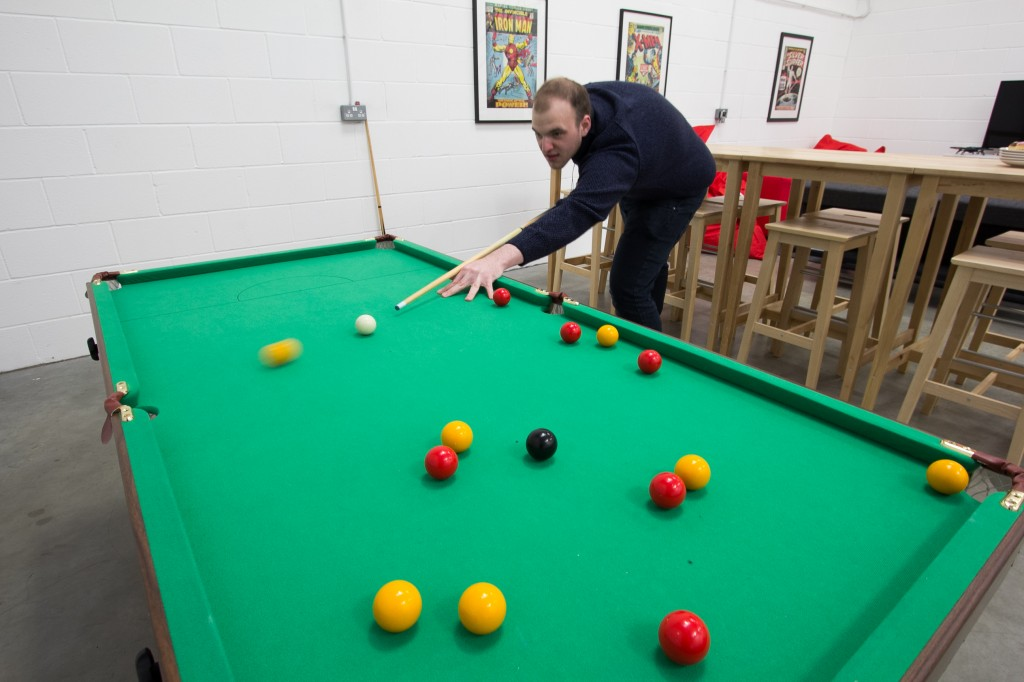 New office in Grimsby - Matt playing pool